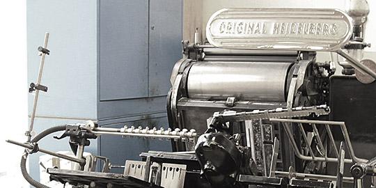 Appl Druck, Ihre Druckerei in Pforzheim seit 1978, Druckmaschine von früher